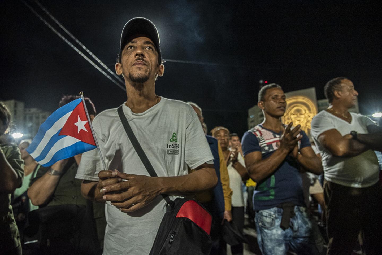 Miles de hombres y mujeres acudieron al mitin convovado por el gobierno de Cuba para escuchar los discursos de distintos mandatarios del mundo en honor de Fidel Castro Ruz. La Habana, Cuba, November 29, 2021.